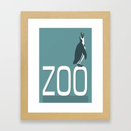Zoo sign with penguin Framed Art Print