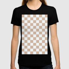 Checkered Pattern Creamy Grayish White and Grayish Orange T-shirt