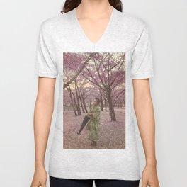 Geisha among Cherry Blossom trees Unisex V-Neck