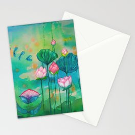 Green water lilies and pink lotus flowers Stationery Cards