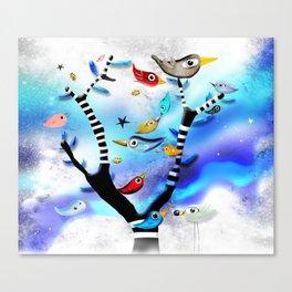 Bids striped black and white tree nursery sky - Rupydetequila Art Canvas Print