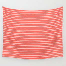 Coral Pinstripes Wall Tapestry