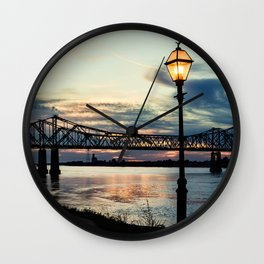 Mississippi River Bridge Natchez Wall Clock