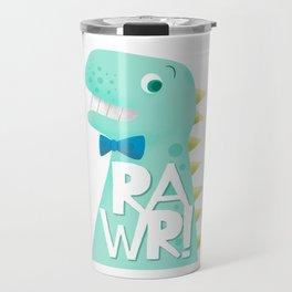 Cute Dinosaur Bow Tie Illustration | RAWR Travel Mug