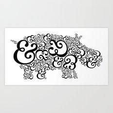 Ampersand Hippo Art Print