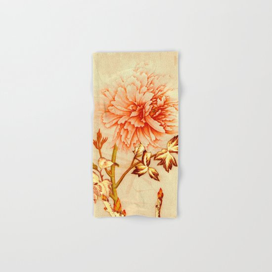 peach and golden floral Hand & Bath Towel