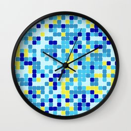 Random colorful squares background Wall Clock
