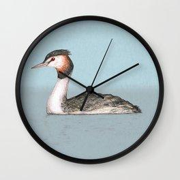 Great crested grebe pencildrawing Wall Clock