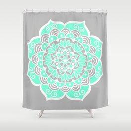 Turquoise and Grey Mandala Shower Curtain