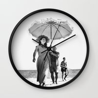 pablo picasso Wall Clocks featuring PABLO PICASSO AT BEACH by VAGABOND