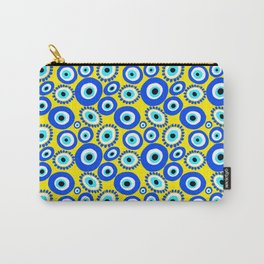 Mediterranean Eye Pattern Yellow and Blue Carry-All Pouch