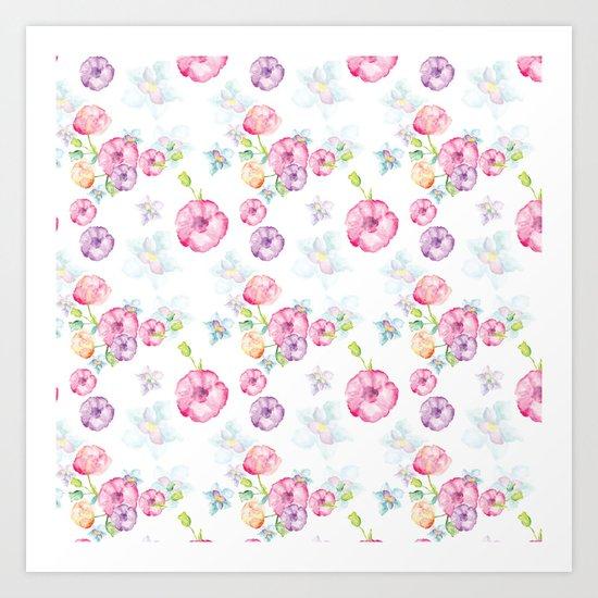 Delicate Floral Pattern 01 Art Print