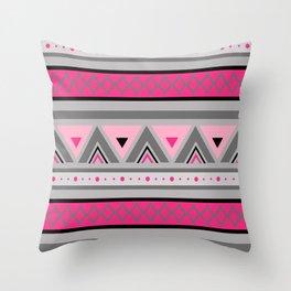 Modern Southwestern Geometric, Pink & Gray / Grey Throw Pillow