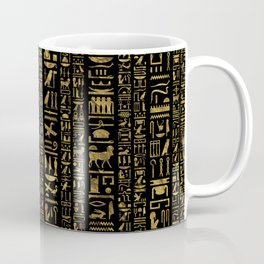 Egyptian hieroglyphs vintage gold on black Coffee Mug