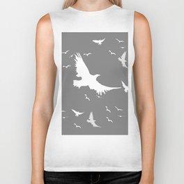 WHITE BIRDS IN FLIGHT GREY ABSTRACT MODERN ART Biker Tank