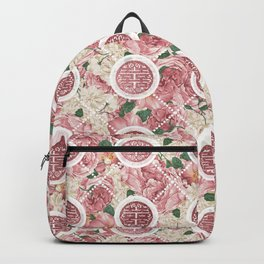 Double Happiness Symbol on Gentle Peony pattern Backpack