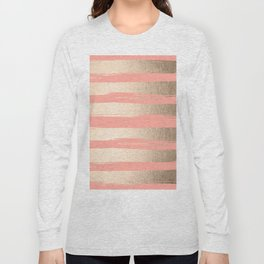 Painted Stripes Tahitian Gold on Coral Pink Long Sleeve T-shirt