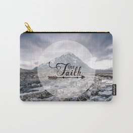 Have Faith Inspirational Typography Over Mountain Carry-All Pouch