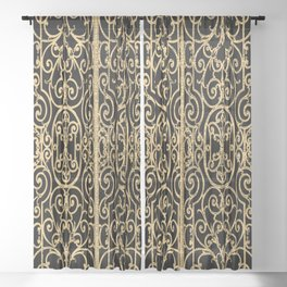 French Wrought Iron Gate | Louis XV Style | Ornate Ironwork | Black and Gold | Sheer Curtain