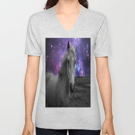 Horse Rides & Galaxy skies muted Unisex V-Neck