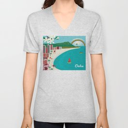 Oahu, Hawaii - Skyline Illustration by Loose Petals Unisex V-Neck