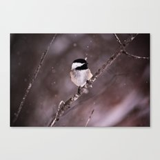 Chickadee in a Flurry Canvas Print