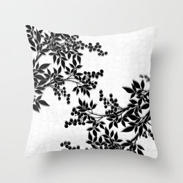 Black and White Leaf Toile Throw Pillow