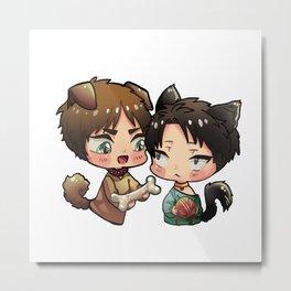 AOT - Eren and Levi (kemonomimi ver) Metal Print