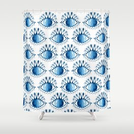 Evil Eye // Blue Watercolor Shower Curtain