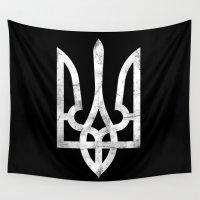 ukraine Wall Tapestries featuring Ukraine Black Grunge by Sitchko Igor