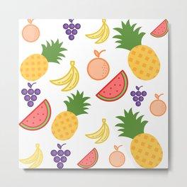 Colourful Fruit Cocktail Mosaic Metal Print