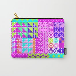 Trendy abstract geometrical neon pink teal navy blue polka dots Carry-All Pouch