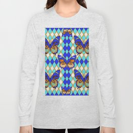 ARGYLE ABSTRACTED  BROWN SPICE  MONARCHS BUTTERFLY & BLUE-WHITE Long Sleeve T-shirt