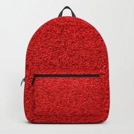 Rose Red Shag pile carpet pattern Backpack