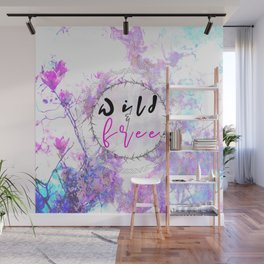 Pastel Marble Floral Wild and Free Wall Mural