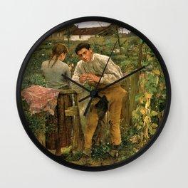 Jules Bastien-Lepage - Rural love Wall Clock