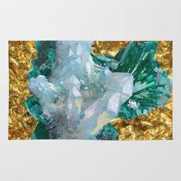 WHITE QUARTZ &  AQUAMARINE CRYSTALS  ON GOLD Rug