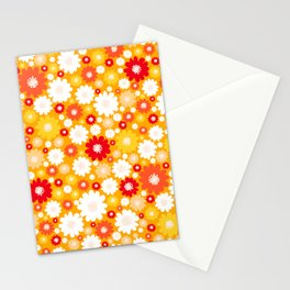 Small Daisy pattern - orange, red, yellow Stationery Cards