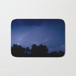 Lightning Over the Valley Nature Night Photograph Bath Mat