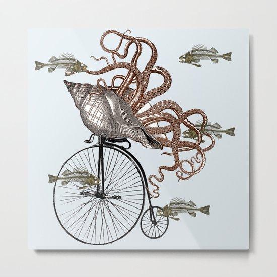 Fish Needs A Bicycle Metal Print