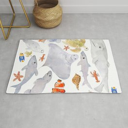 happy sea animals painting Rug