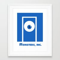 monsters inc Framed Art Prints featuring Monsters, inc. by Citron Vert