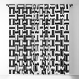 Black and White Basket Weave Blackout Curtain