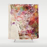 san diego Shower Curtains featuring San Diego by MapMapMaps.Watercolors