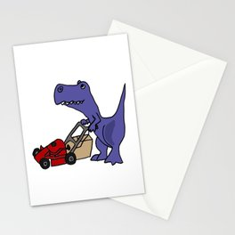 Funny Blue T-Rex Dinosaue Pushing a Lawn Mower to Mow the Lawn Stationery Cards