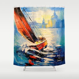 Yacht in the wind Shower Curtain
