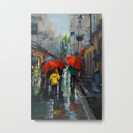 Red Umbrellas and Reflections Metal Print