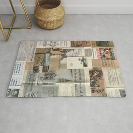 Vintage News Clippings Rug