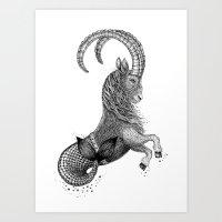 capricorn Art Prints featuring Capricorn by PAgata
