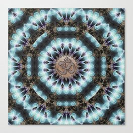 Om Shanti Fractal Geometry [ earthy aqua remix ] Canvas Print